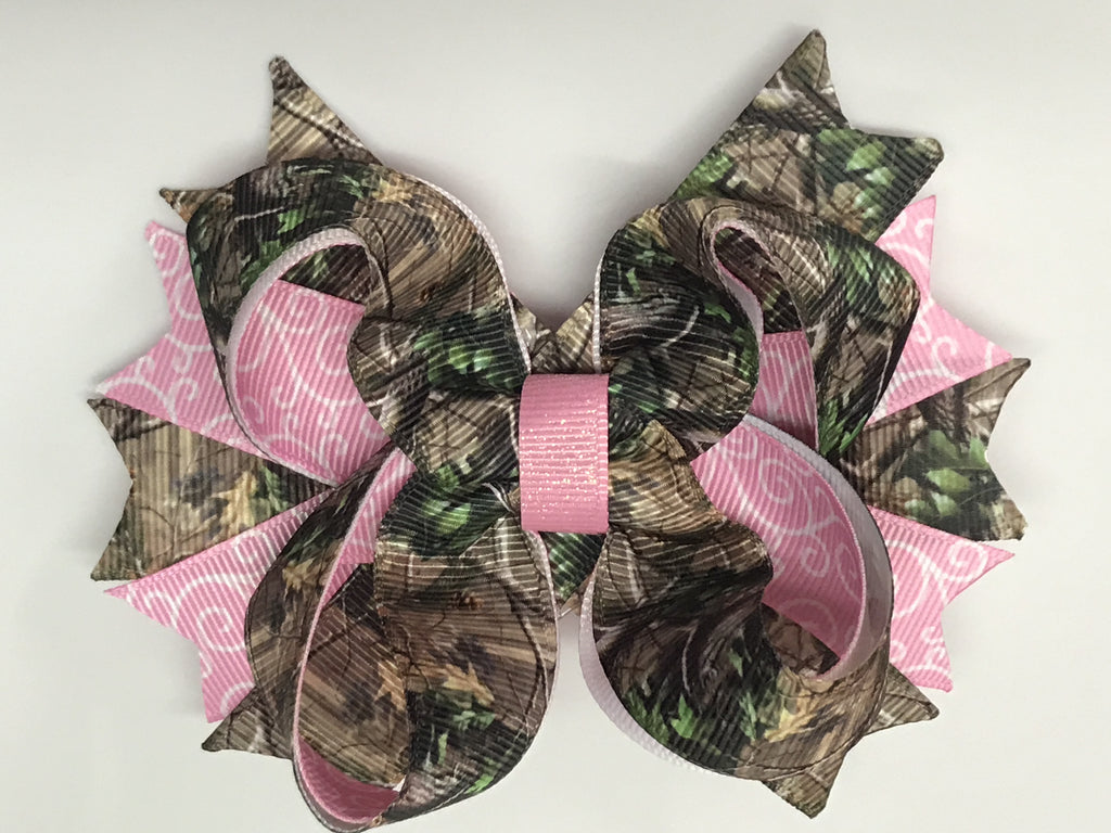 Light Pink and Camo Bow or Headband - Paisley Bows