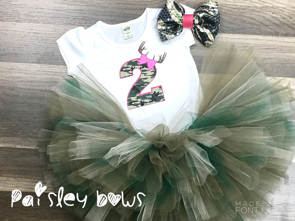Camo 2nd Birthday tutu outfit - Paisley Bows