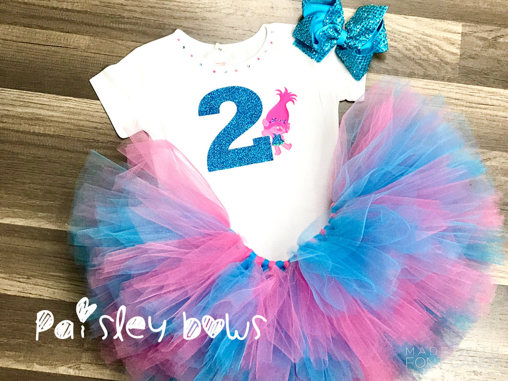 Trolls 2nd Birthday Tutu Set - Paisley Bows