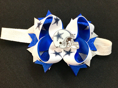 Cowboys Hair Bow or Headband - Paisley Bows