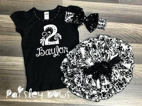 Black And White 2nd Birthday Set - Paisley Bows