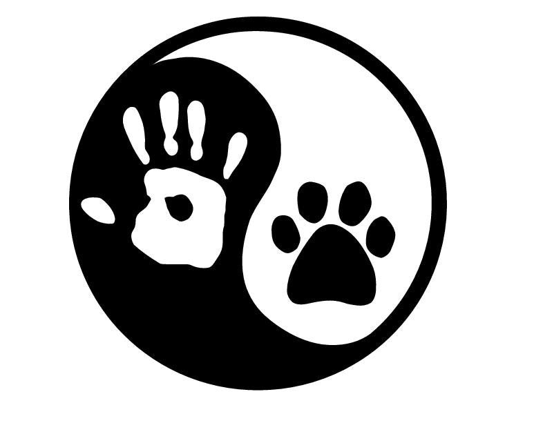 Ying yang human hand dog paw hunter
