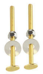 "PlumbPak Toilet to Floor Bolts, 1/4"" -20 x 3-1/2"", Brass, #PP23514 - Jenco Wholesale"
