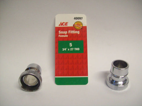 "Ace 3/4"" Snap Fitting, Female (Chrome), 40097 - Jenco Wholesale"
