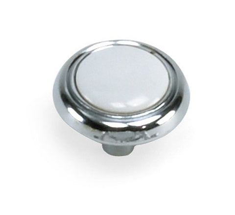 "Laurey 1-1/4""  Diameter Knob, Chrome with White Inset,  #15427 - Jenco Wholesale"