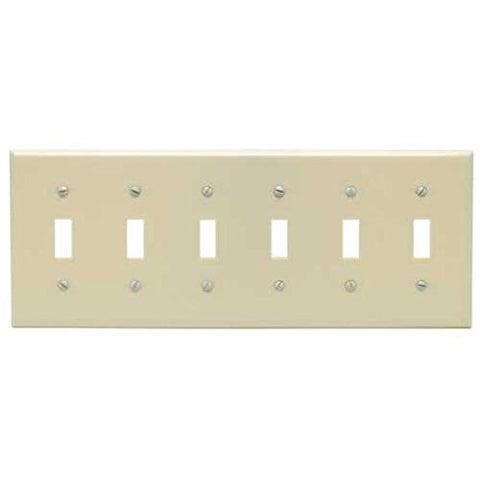 Preferred Industries 6 Gang Switch Plate (Ivory), 602523 - Jenco Wholesale