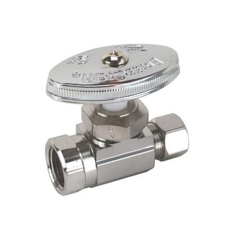 "BrassCraft Straight Stop Valve 1/4"" Nom (3/8"" Od) inlet Compression x 1/2"" od comp outlet"