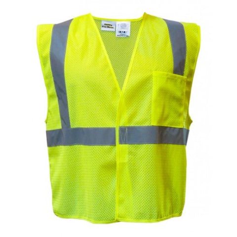 Utility Pro UPA472 Polyester High-Visibility Mesh Vest with Velcro Closure, Large, Lime