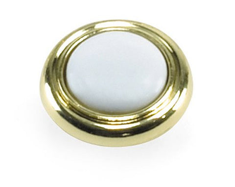 "Laurey 15443 1-1/4"" Diameter Knob, Polished Brass w/ White - Jenco Wholesale"