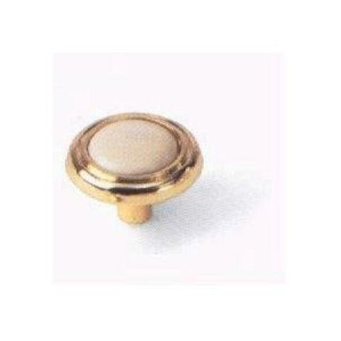 "Laurey 1 1/4"" Knob - Almond - Polished Brass, #15409 - Jenco Wholesale"