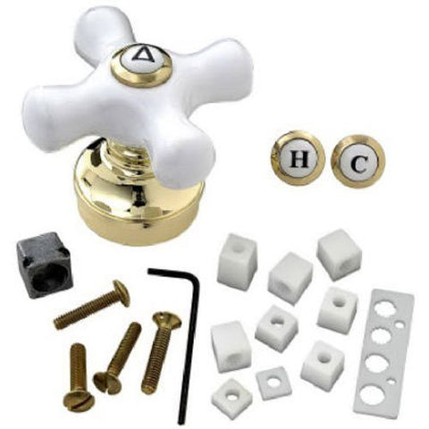 BrassCraft Universal Decor Faucet Handle, Polished Brass/White Cross, #SH5740