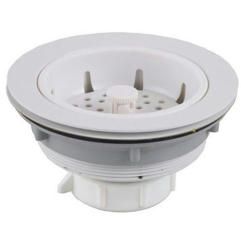 PlumbPak Sink Strainer, White Plastic Body, PP5460 - Jenco Wholesale