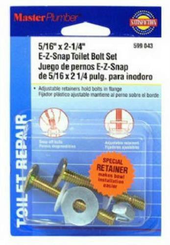 "Master Plumber E-Z Snap Toilet Bolt Set, 5/16"" x 2-1/2"", Brass, #599 043 - Jenco Wholesale"