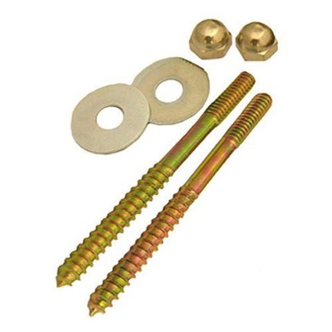 Lasco 04-3613 Toilet Screws with Brass Plated 1/4-Inch by 3-1/2-Inch with Nuts - Jenco Wholesale