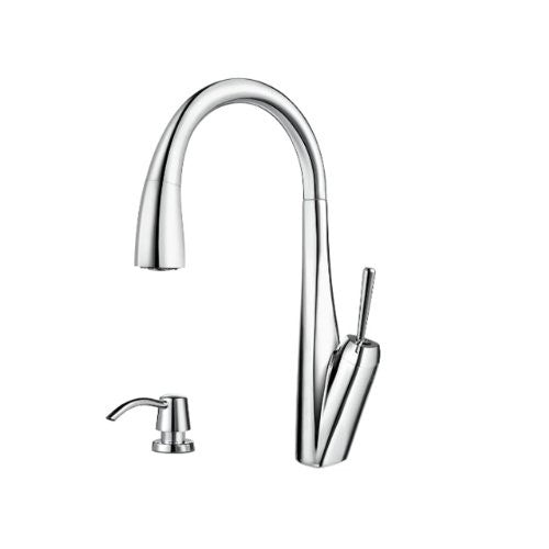 Pfister GT529-MPC Zuri 1-H Pull-Down Kitchen Faucet and Soap Dispenser, Chrome - Jenco Wholesale