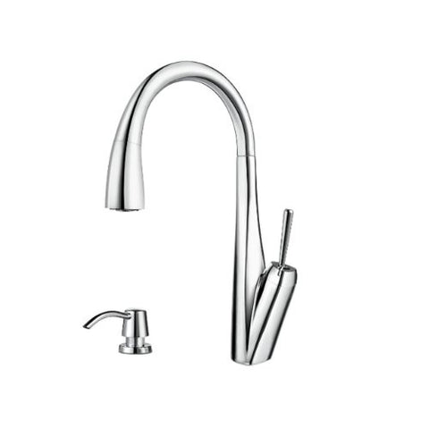 Pfister GT529-MPC Zuri 1-H Pull-Down Kitchen Faucet and Soap Dispenser, Chrome