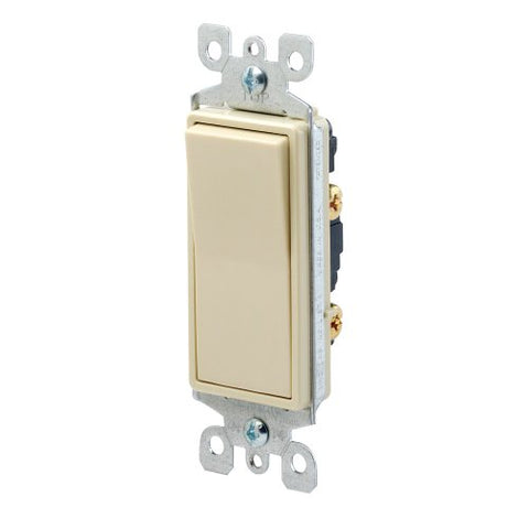 Leviton Single Pole Rocker Switch, Grounding Quick & Side Wired (Almond), 5601-2A - Jenco Wholesale