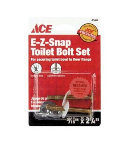 "Ace E-Z Snap Toilet Bolt Set, 5/16"" x 2-1/4"", Brass, #40462 - Jenco Wholesale"