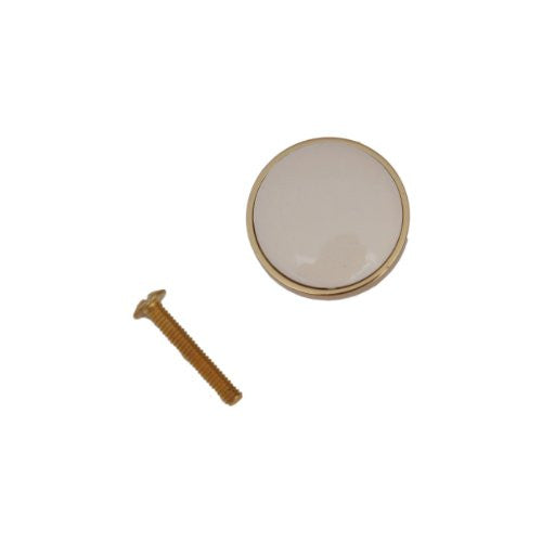"Laurey Solid Brass/Almond Porcelain 1-1/4"" Knob, #42501 - Jenco Wholesale"