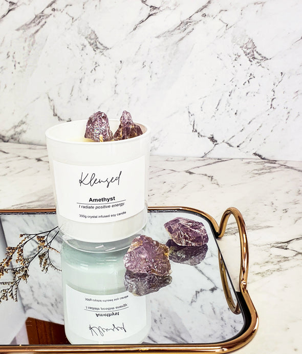 Amethyst Intention Candle- 300g - EFFIE.K BEAUTY