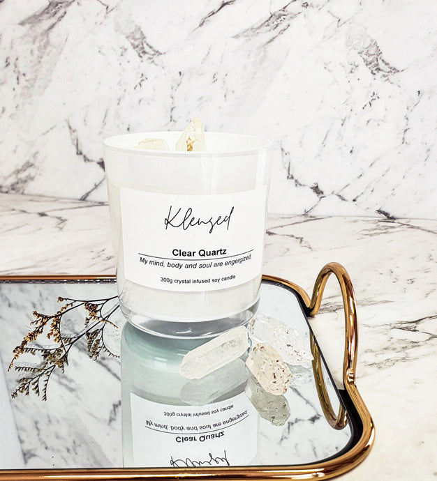 Clear Quartz Intention Candle- 300g - EK LASHES