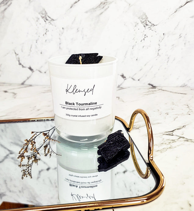 Black Tourmaline Intention Candle- 300g - EFFIE.K BEAUTY