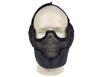 Airsoft Adjustable Mesh Full Lower Head Mask Black