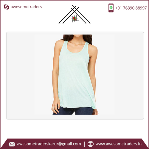 Women's Flowy Racerback Tank top with customised printt-MOQ 10/size/colour @ US$1.85 per pc