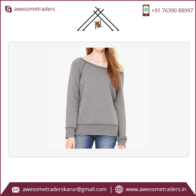 Women's Sponge Fleece Wide Neck Sweatshirt custom logo-MOQ 10/size/colour @ US$6.50 per pc
