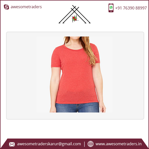 Women's Relaxed Jersey Short Sleeve Scoop Neck Tee with custom print-MOQ 10 per size/colour @ US$3 per pc