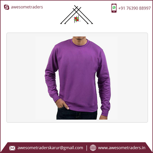Crew neck sweatshirt with custom logo-MOQ 10 pcs per size/colour at US$6 per pc