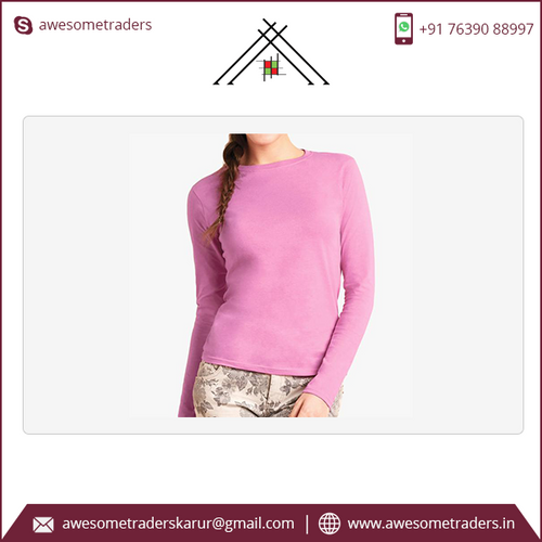Ladies' Long Sleeve T-Shirt blank-Colour Pink