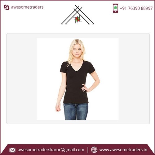 Women's Deep V-Neck Jersey Tee with customised print-MOQ 10 per pc/size/colour at US$3 per pc