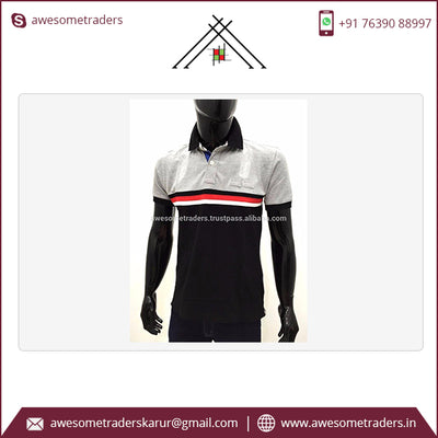 100% Cotton Men's Polos Striped Pattern-Customised logo-MOQ 100 pcs per colour @ US$4.50 per pc