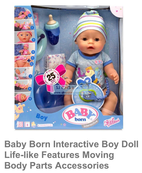 Baby Born Interactive Boy Doll Life-like Features Moving Body Parts Accessories