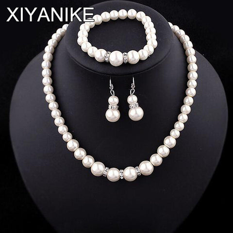 Fashion Classic Imitation Pearl Silver Plated Clear Crystal  Pearl Jewelry