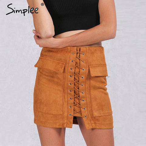 Autumn lace up suede leather women skirt - Uniquestylebrands