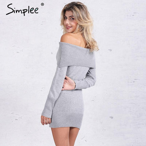 Winter off shoulder knitted bodycon dress - Uniquestylebrands