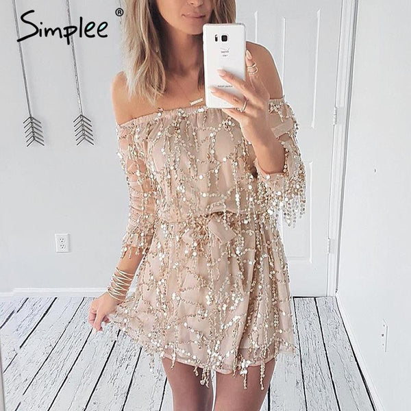 Sexy off shoulder sequin tassel summer dress - Uniquestylebrands