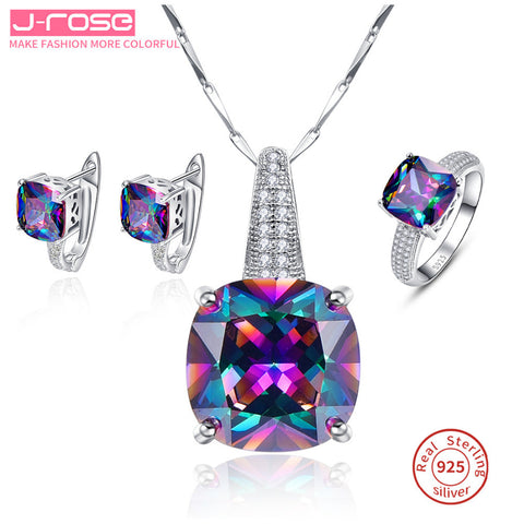 Mystic Rainbow 100% 925 Stamp Sterling Silver Necklace Earrings Ring Set