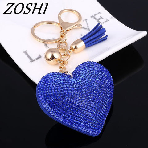 Full Crystal Rhinestone Heart Key Chain Jewelry