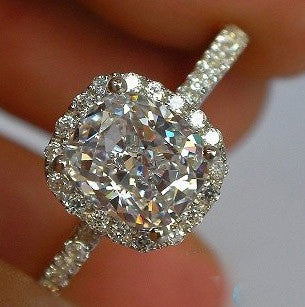 Brilliant Luxury Cushion Cut 2 Carat Halo Engagement Wedding 14 K 585 White Gold Ring Lab Grown Real Moissanite Diamond