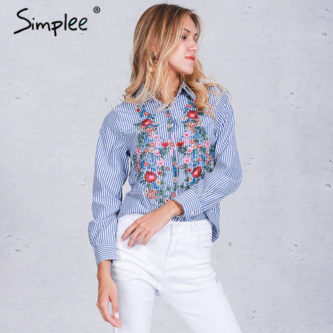 Embroidery female blouse shirt - Uniquestylebrands