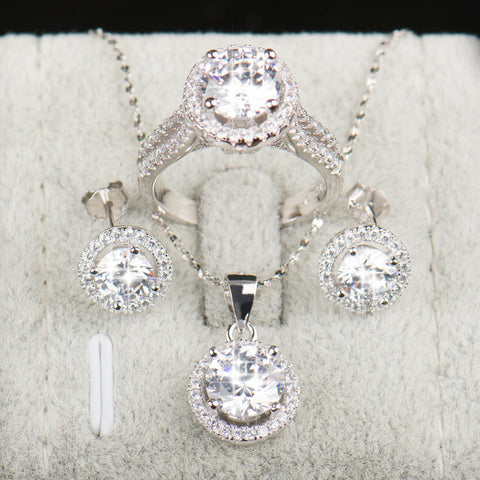 Brides 925 Sterling Silver AAAAA Level CZ Stud Earrings Ring Necklace Bridal Jewellry Set
