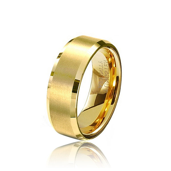 Wholesale 8MM  Gold Color Tungsten Carbide Rings Mens Wedding Band Bulk Gold Rings