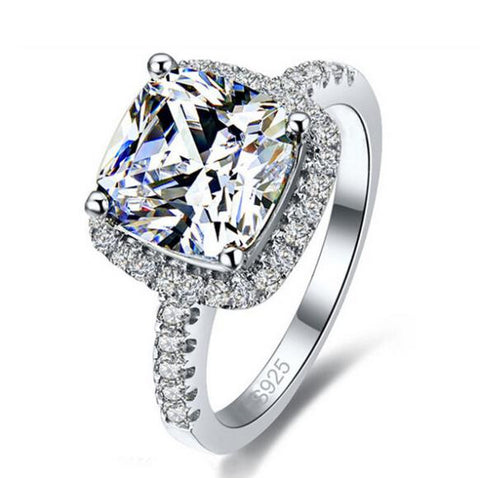 Luxury Geniune 925 Sterling Silver Wedding Engagement Rings Super Shiny Cubic Zirconia Jewelry