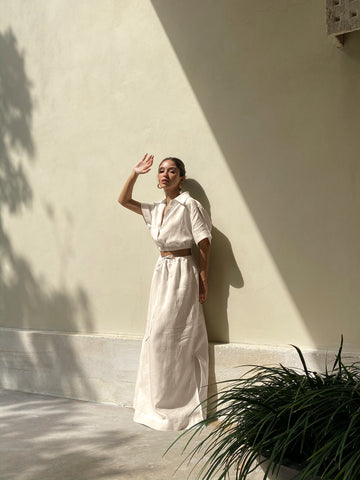 avenue the label crop and skirt set linen outfit matching separates