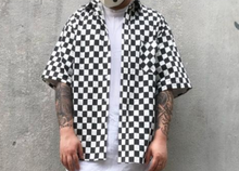 No Iron Needed Checkerboard Button Up Short Sleeve Cotton Shirt - Zipper on sides