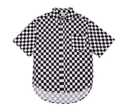 Boyfriend T SHIRT - No Iron Needed Checkerboard Button Up Short Sleeve Cotton Shirt - Zipper on sides
