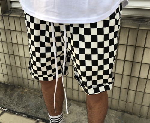 Black & White Checkerboard Board Shorts - High End Material